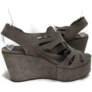 Pedro Garcia Grey Suede Cutout Cork Wedge Heels